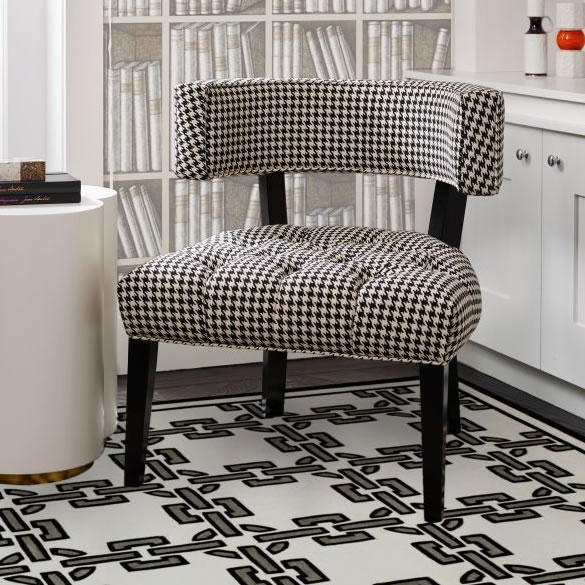 Hudson Lounge Chair Black Frame with Houndstooth | Casa Mia